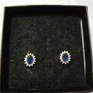 Jewelry - White and blue sapphire earrings